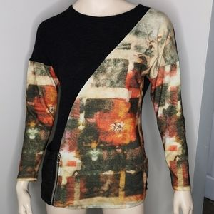 Michael Tyler Funky Abstract Color Block Sweater